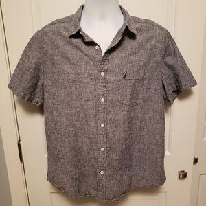 Nautica Linen Button Down Shirt Grey Size Large